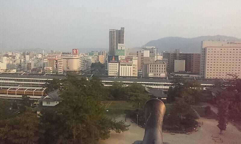福山城より福山駅前方面